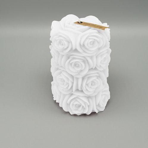 Rosenzylinderkerze (weiss)