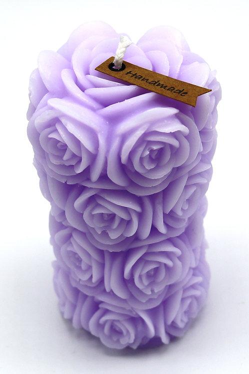 Rosenzylinderkerze (lila)