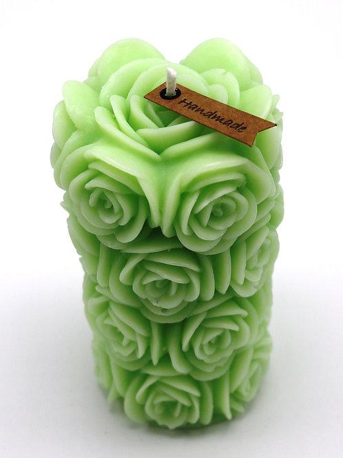Rosenzylinderkerze (grün)