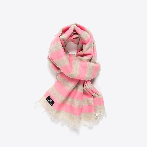 Baumwoll- Leinenschal mit Streifen (pink)