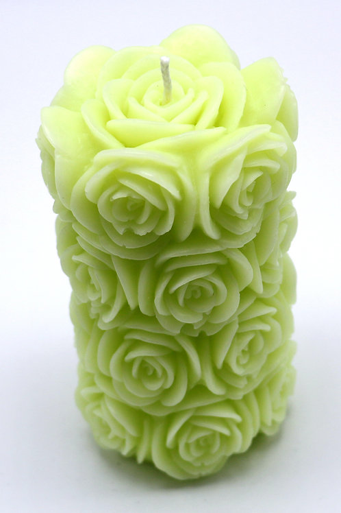 Rosenzylinderkerze (olivgrün)