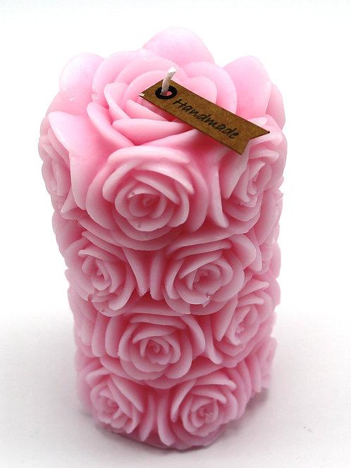 Rosenzylinderkerze (pink)