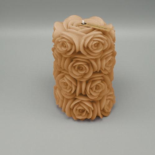 Rosenzylinderkerze (sand)