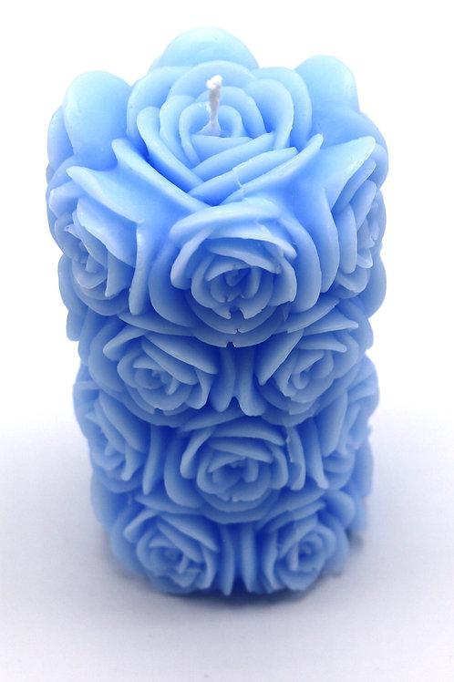 Rosenzylinderkerze (blau)