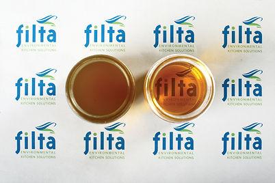 filteren van frituurolie, voor en na
