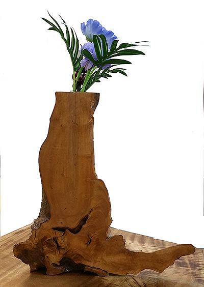 (g) Designed wooden flower vase