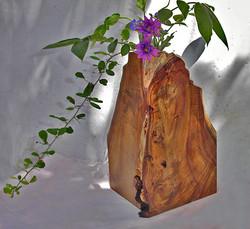 (f) Designed wooden flower vase