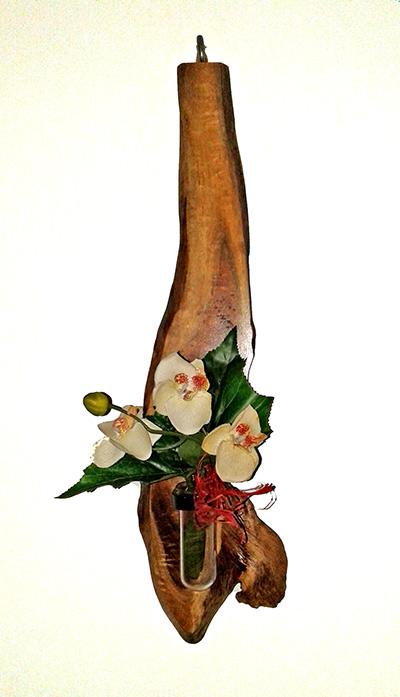 (e) Designed wooden flower vase