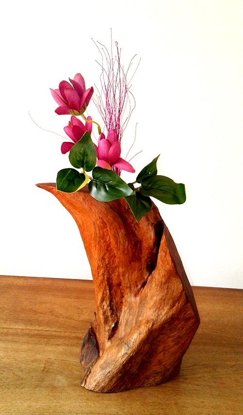 (c) Designed wooden flower vase