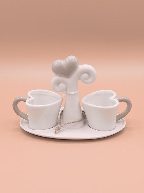 Set 2 tazzine da caffè con supporto