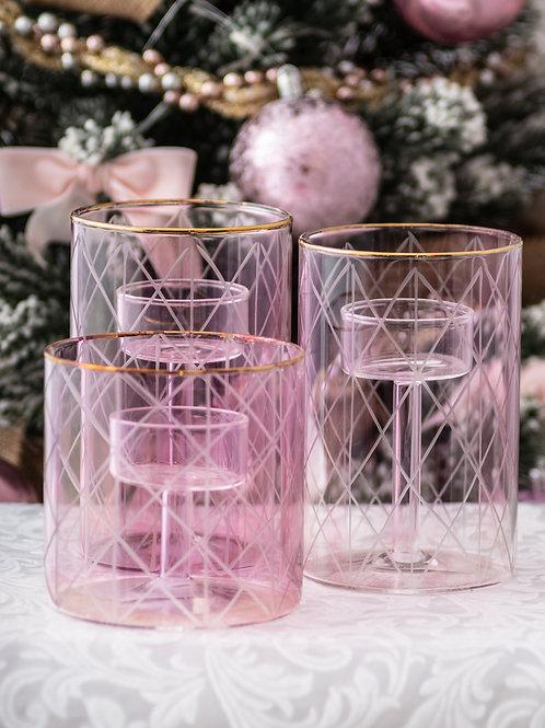 "Porta tealight ""Pink"" BASSO"