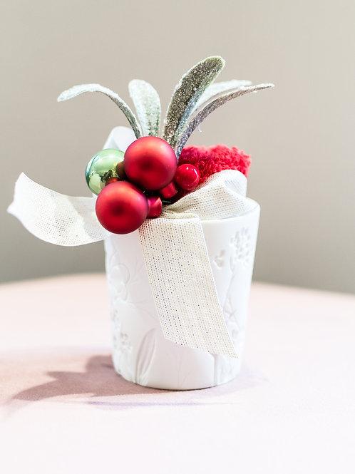 Vasetto in porcellana con lavetta mani