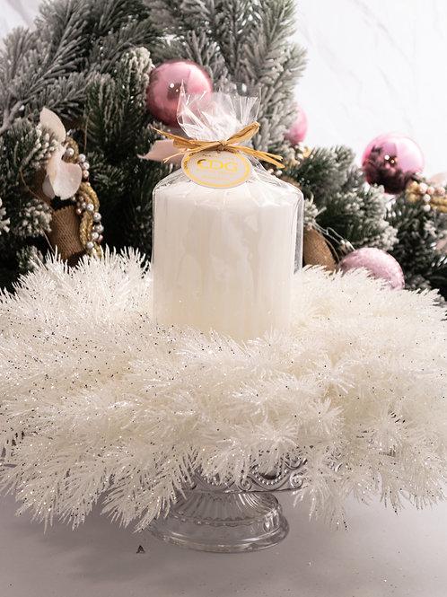 Centrotavola ( alzata + ghirlanda white glitter + moccolo )