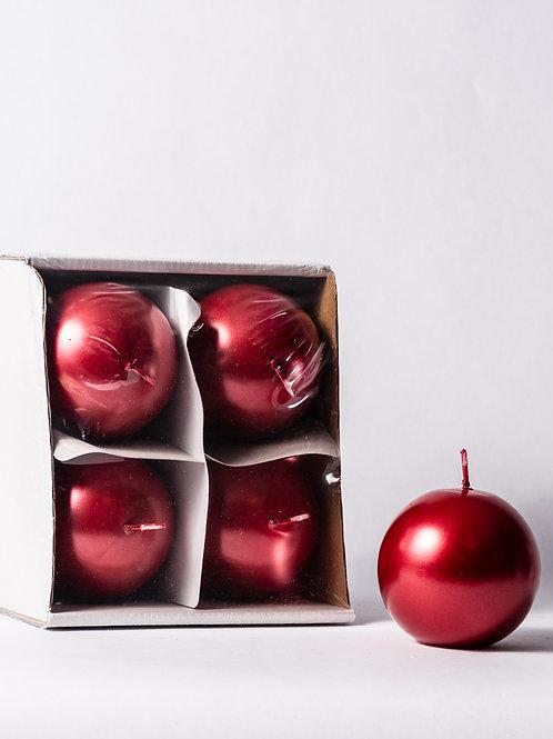 Candela a pallina natalizia rossa opaca