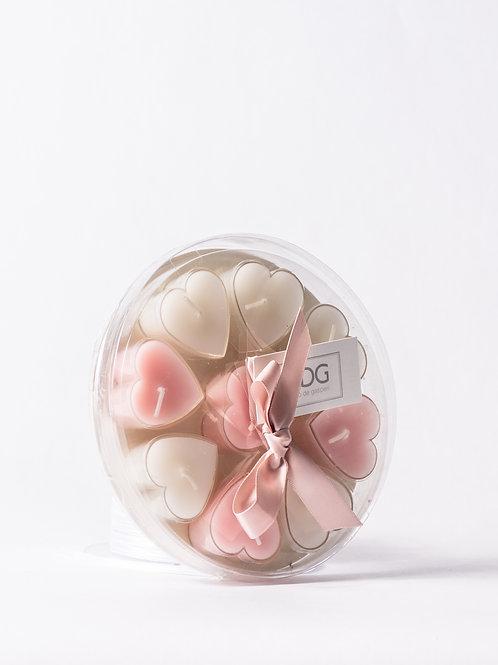 Vassoio di candeline a forma di cuore bianco /rosa