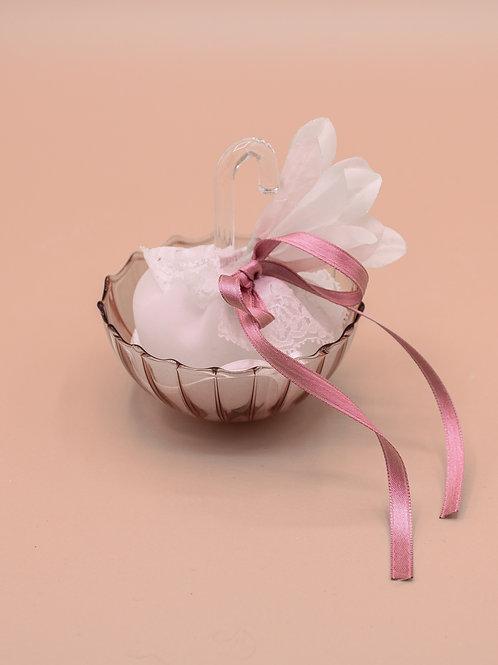Ombrellino in vetro rosa antico - piccolo