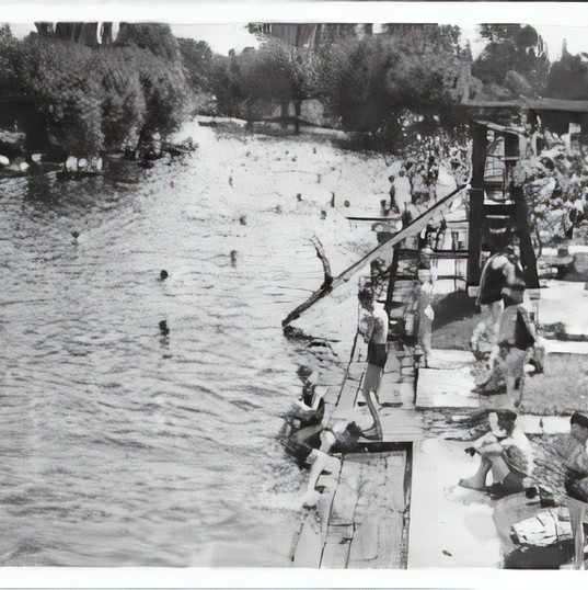 This photo, believed to date from the 1930s shows how much the river was used for swimming and relaxation.