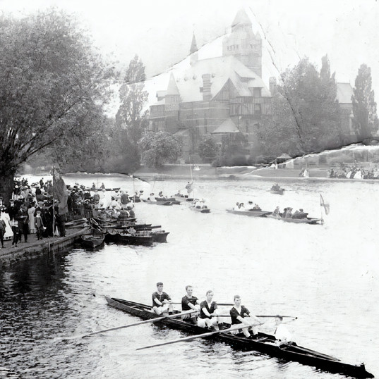Stratford Regatta, probably 1900s, was clearly a major event. The old Shakespeare Memorial Theatre, which burnt down in 1926, is in the background.
