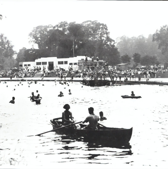 Photo of Stratford Lido is believed to date from the 1920s and shows chutes, diving boards and changing huts.