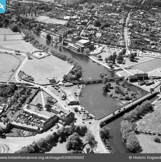 Clopton Bridge, RSC and Bancroft Gardens 1947