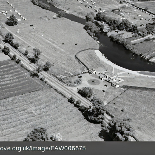 Fisherman's Car park from the air in 1947. Note how the site was much more developed than it is now with several buildings suggesting it was a significant local leisure destination.