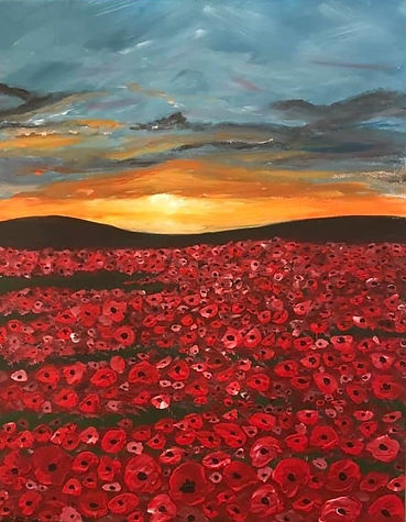 Sunset over Remembrance poppies