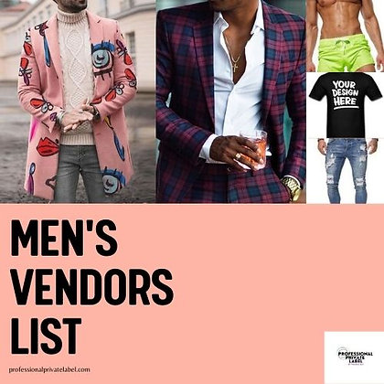 Men's Clothing, Accessories, & Grooming Vendors (Instant Email)