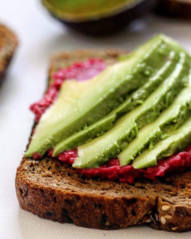 vegan breakfast avocado beetroot hummus healthy food snack