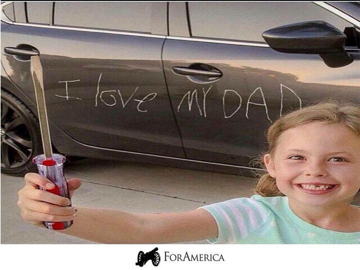 Kids have a funny way of showing their love for dads. Happy Father's Day!