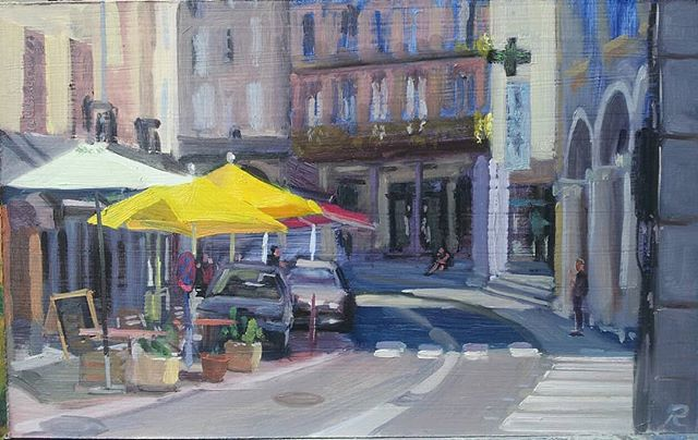 yellow parasols, St Girons