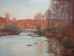 river in Touille, orange hills