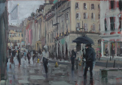 rainy Milsom street busker