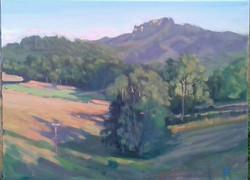 Fast painting at Pujos, long shadows