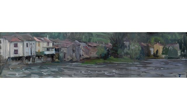 Panorama in the rain at Lacourt, south f