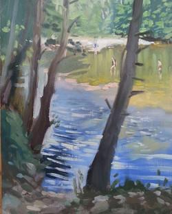 Through trees bathers in the Tarn