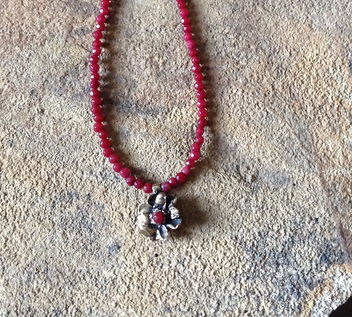 Hope Flower w/ Red Jade Chain (Bronze)