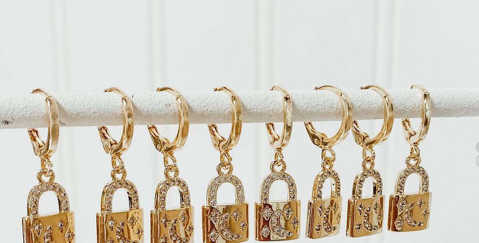 Locket Gold Hoop Huggies