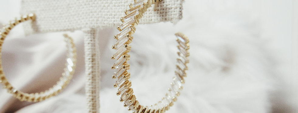 CZ Gold Hoops