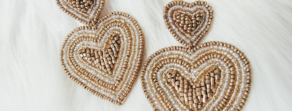 Golden Hearts Beaded Earrings