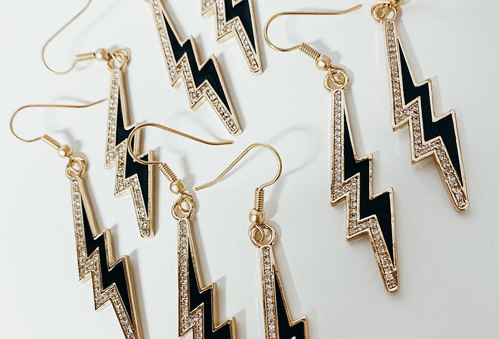 Electric Lightening Earrings - Gold