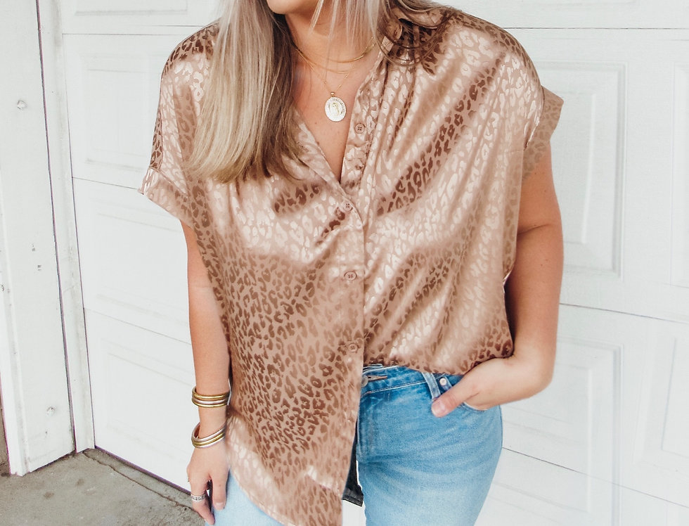 Back To Black Leopard Blouse - Champagne