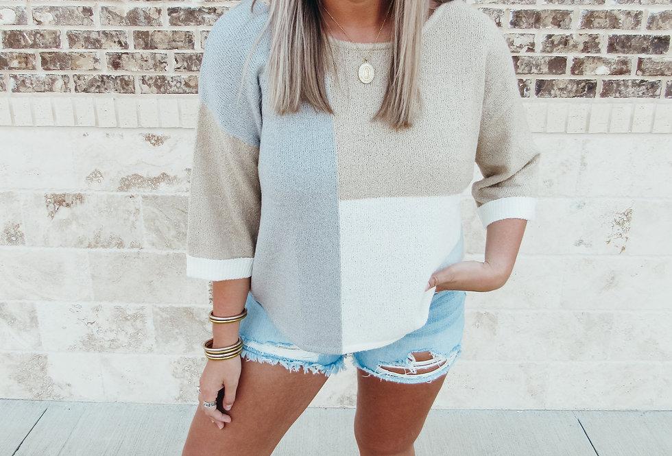 Khaki Colorblock Sweater