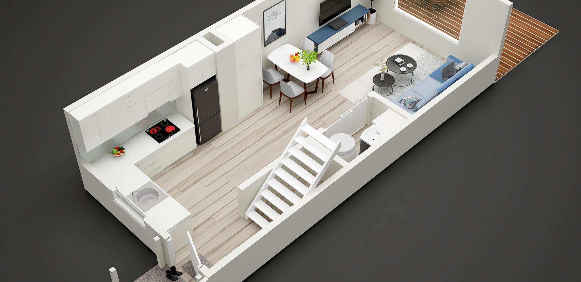 3D downstair  floor plan