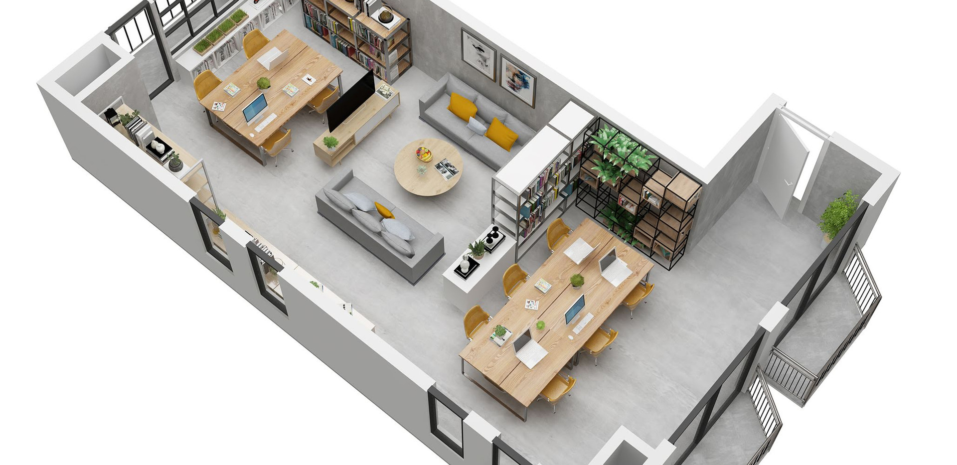 rubyykleung_perpective_3D Floorplan office