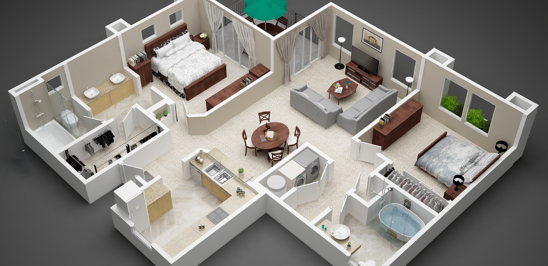 3d floor plan country style
