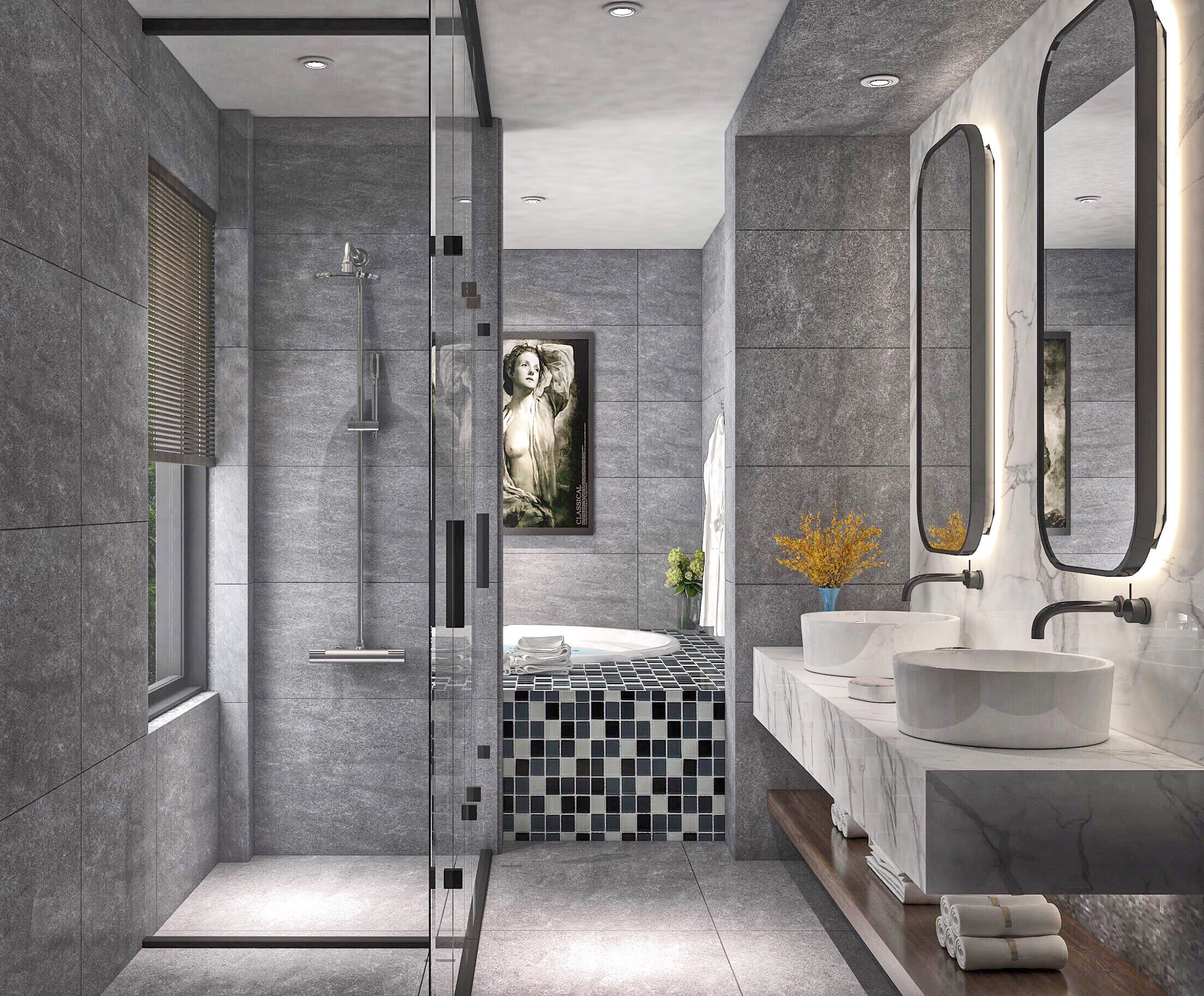 Bathroom rendering 3