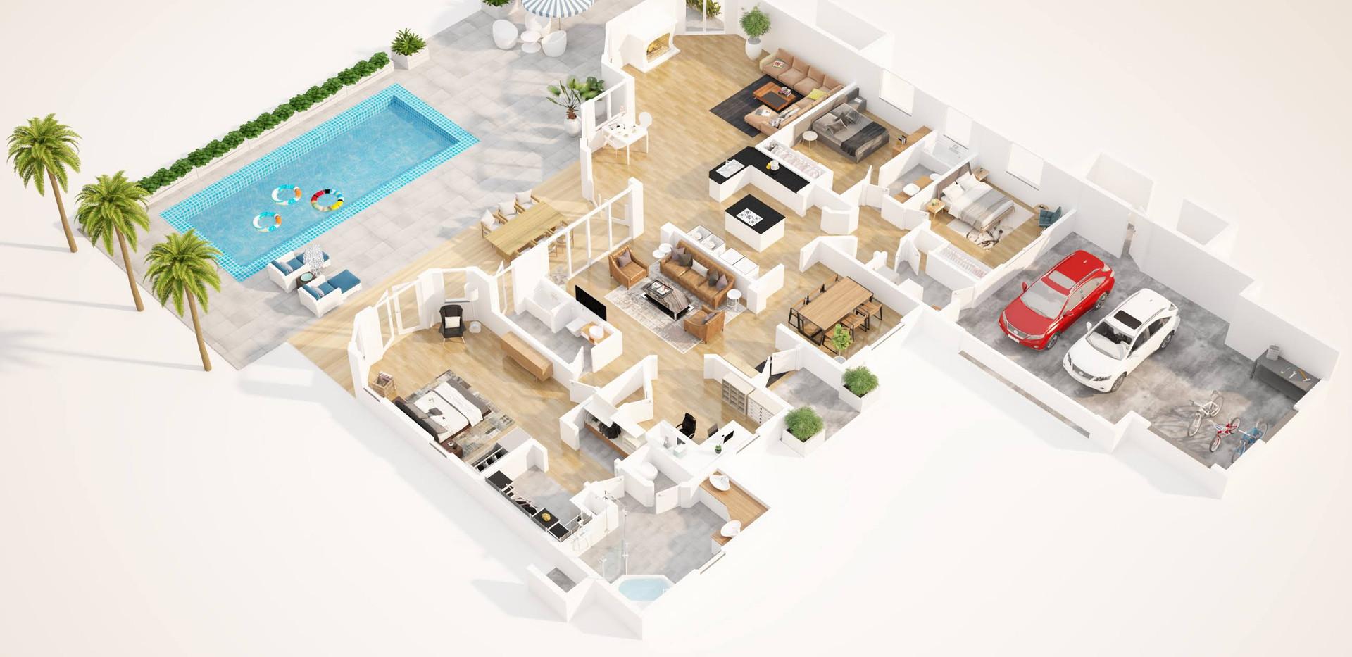 3D floor plan villa