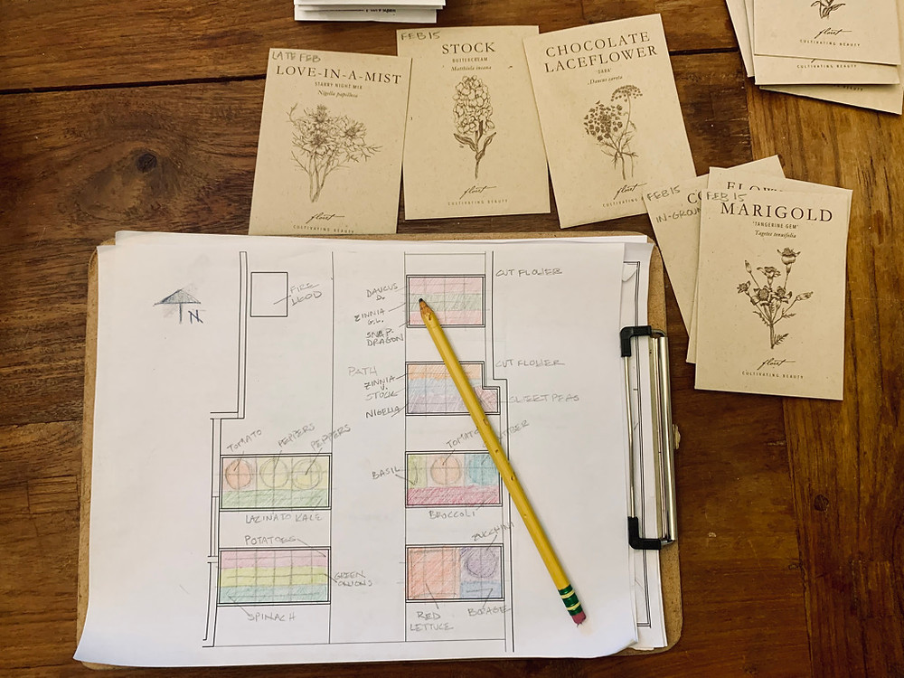 Sketching out the garden design and color coding the raised beds helps get things organized ahead of planting.