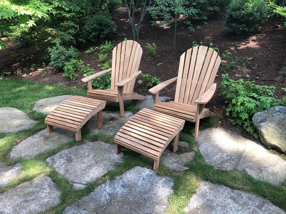 Barlow Tyrie teak adirondack chairs and ottomans