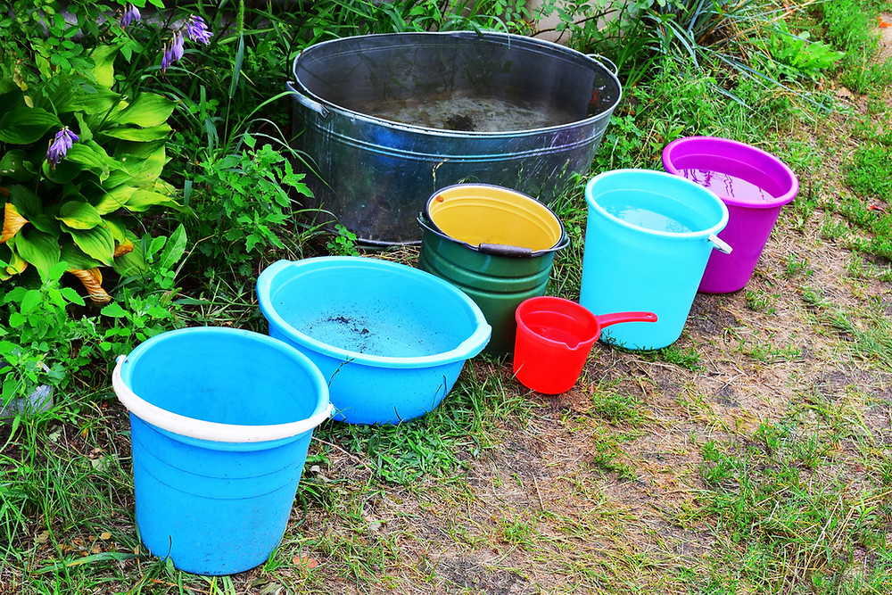 Buckets of standing water are breeding grounds for mosquitoes.